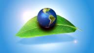 Orbiting Globe On A Green Leaf