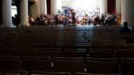 Orchestra rehearsal with copy space