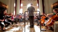 Orchester und Dirigent Weitwinkel