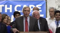 Oregon Senator Jeff Merkley tells media and supporters of universal health care coverage that the system presents a lifetime of stress for Americans...