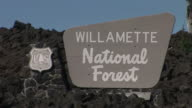 OregonSignboard of WILLAMETTE National Forest in Oregon Pacific Northwest United States