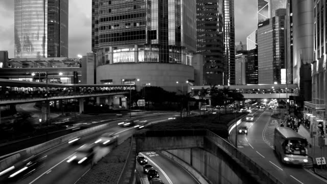 Original Black And White Night Traffic Urban