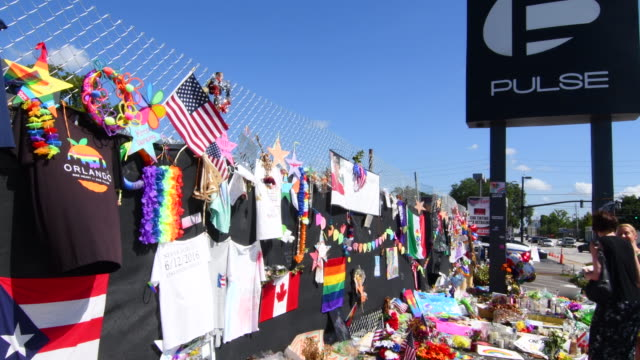 Orlando Florida Pulse night club tragedy shooting memorial at gay bar by terrorist on June 12, 2016