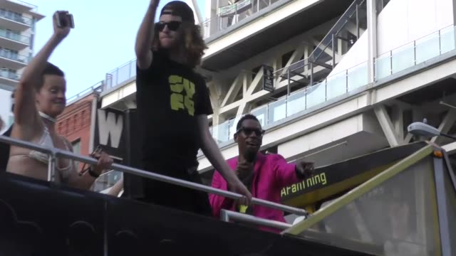 Orlando Jones sings from a bus roof at Celebrity Sightings at San Diego ComicCon International on July 22 2017 in San Diego California