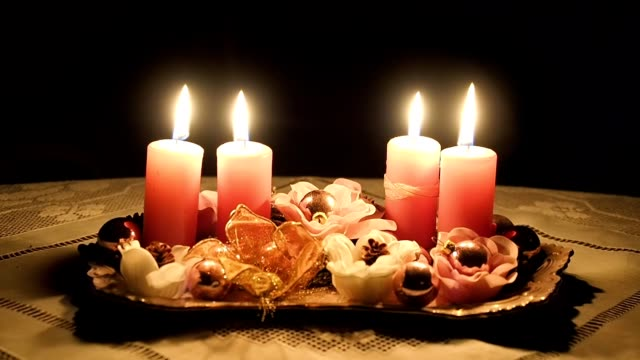 Ornamental Christmas candles on the table