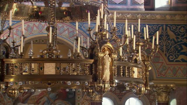 CU PAN Ornate chandelier in Neuschwanstein Castle, Bavaria, Germany