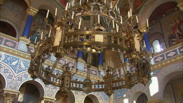 CU TU TD Ornate chandelier in Neuschwanstein Castle, Bavaria, Germany