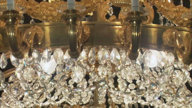 CU TU Ornate chandelier, Royal Palace, Madrid, Spain