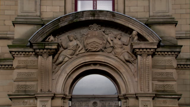 Ornate designs garnish the exterior of Victoria Hall in Liverpool.