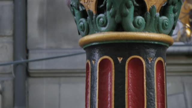Ornate detail on fountain on Marktgasse, Bern, Canton of Bern, Bernese Oberland, Swiss Alps, Switzerland, Europe