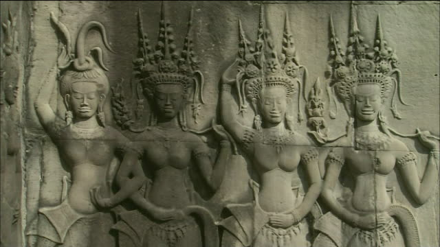Ornate relief of goddesses at Angkor Wat, Cambodia