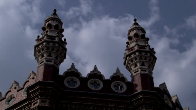 Ornate trim covers a Victorian building in Leeds. Available in HD.