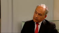 Tony Blair reaction ENGLAND London INT Tony Blair shakes hands with reporter then both into room and sit down Tony Blair interview SOT tremendous...