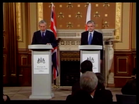 Osama bin Laden tape offers truce to Europe ITN London Foreign Office INT Jack Straw MP along to press conference podium and speaking SOT have to...