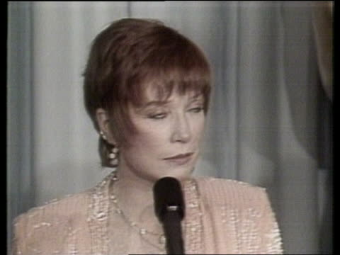 Oscar winners at 56th Academy Awards CMS SHIRLEY MacLAINE PKF SOF 'I had a physical they really mean it' / TS Nicholson and Winger onto podium / PKF...
