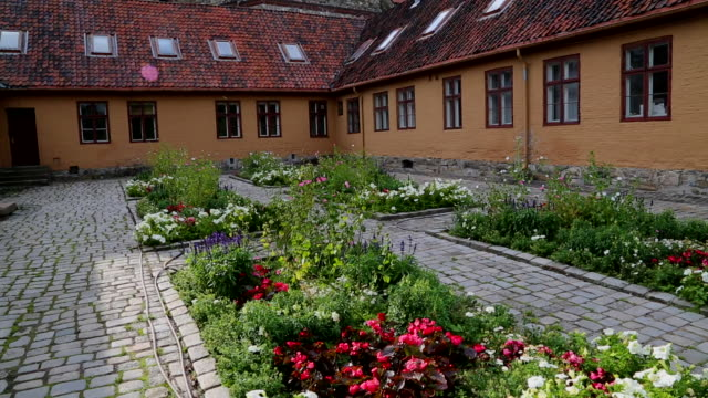 Oslo, Akershus fortress, view of a garden