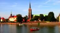 Ostrow Tumski da Odra Fiume a Wroclaw, Polonia