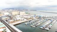 Otaru yachts harbour station daytime timelapse