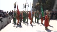 Ottoman's fabled janissary band the mehter platoon perform during the commemoration ceremony marking the 100th anniversary of the Canakkale Land...