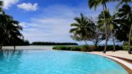 Outdoor Infinity Swimming Pool At Tropical Resort