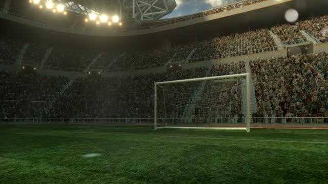 Outdoor soccer stadium on sunlight