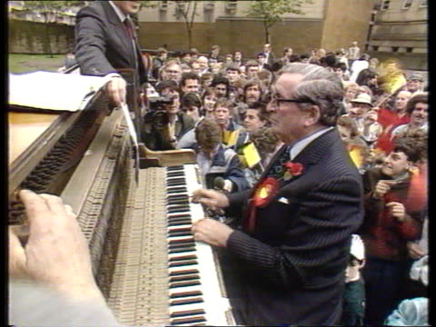 Outgoing MP's MS Denis Healy MP playing piano at rally Hampstead LMS Michael Foot MP toward CMS Nigel Lawson MP at banquet CMS Geoffrey Howe MP with...
