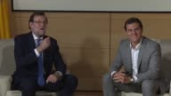 Outgoing Spanish PM Mariano Rajoy meets head of Ciudadanos party Albert Rivera as part of ongoing talks to form a government following June's...