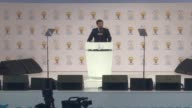 Outgoing Turkish Prime minister Ahmet Davutoglu gives his farewell address at the AKP Congress