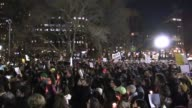 Over a thousand protesters flooded Washington Square Park shouting 'lock him up' 'stand up fight back' 'no ban no wall' 'we need a leader not a...