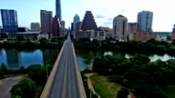 Over Congress Avenue Crossing Congress Bridge flying right up to Austin Texas Downtown Congress View