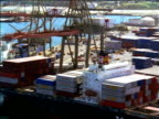 AERIAL over cranes + freighter ships in San Pedro harbor / California