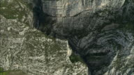 AERIAL over deep gorge with stream/ Alpes-Maritimes, France