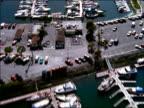 AERIAL over marina + parking lot / Long Beach, California