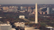 Over National Mall, passing Washington Monument with Lincoln Memorial in distance; Arlington, Virginia in background. Shot in 2011.