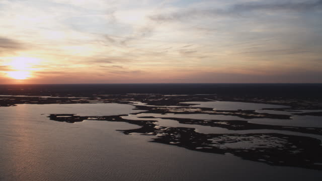 Over Turtle Cove and Log Creek Pond, New Jersey, at sunset. Shot in November 2011.