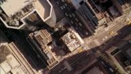 Overhead aerial Manhattan building rooftops
