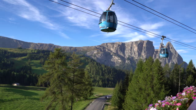 Overhead cable car with Dolomites mountain range