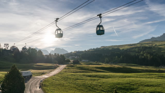 Overhead cable car with sunlight in Alps, Time Lapse
