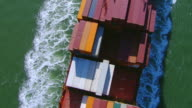 WS AERIAL Overhead of sailing cargo ship / San Francisco, California, United States