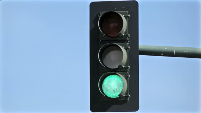 Overhead Traffic Light Changing