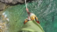 Overhead view of athlete traversing highline above sea