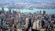overlooking new york city metropolis. urban landmark background