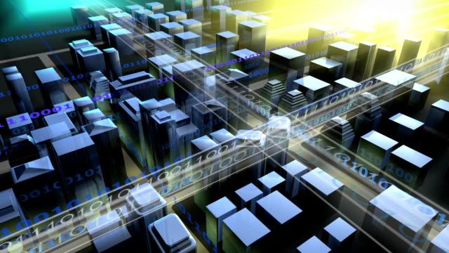 Affacciato sul digital city.3D Rendering.