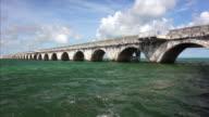 Overseas Highway bridge passes over the tropical waters of the Florida Keys