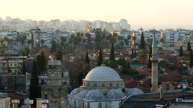 Overview of old town and mosque, Antalya