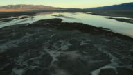 Owens Lake, a mostly dry salt lake, which was desiccated during the creation of the Los Angeles Aqueduct in the early 20th century.