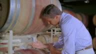 CU, Owner tasting wine in cellar, Marlboro, New York State, USA