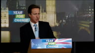 Woodstock David Cameron MP along and into building with his wife Samantha Cameron David Cameron speech SOT let us make this the year for change the...