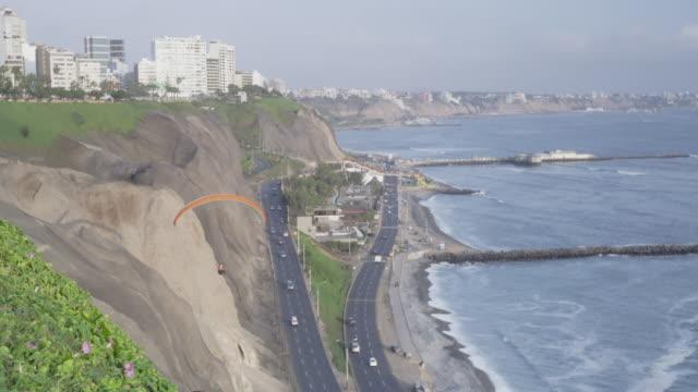 Pacific coastline in the Miraflores District of Lima, Peru.