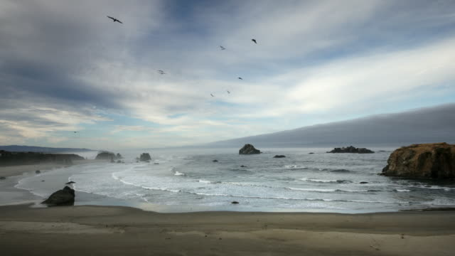 Pacific Ocean scenic view of sandy beach with huge rocks and waves